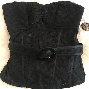 Bebe Black Belted Top Size Small
